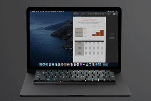 MacBookのキーボードの上にそのままに設置できるNuType